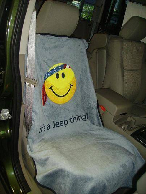 """Seat Armour, IBS-SMILEY-SEAT-TOWEL - Jeep Seat Towel with Smiley Face Design """"It's a Jeep Thing"""""""
