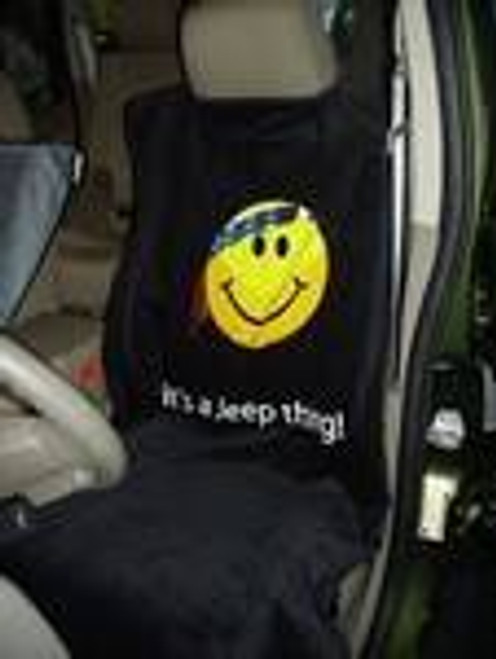 "Seat Armour, IBS-SMILEY-SEAT-TOWEL - Jeep Seat Towel with Smiley Face Design ""It's a Jeep Thing"""