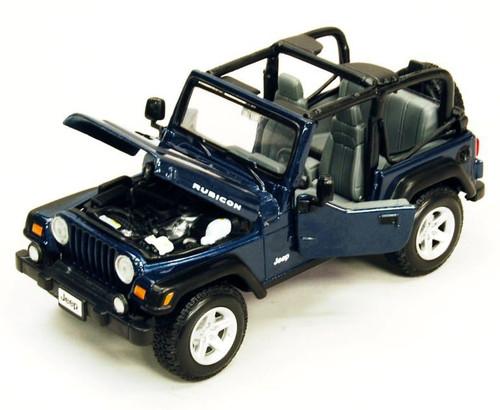 Maisto, 31245DKBLU - 1:27 Jeep Wrangler Rubicon Diecast - Blue