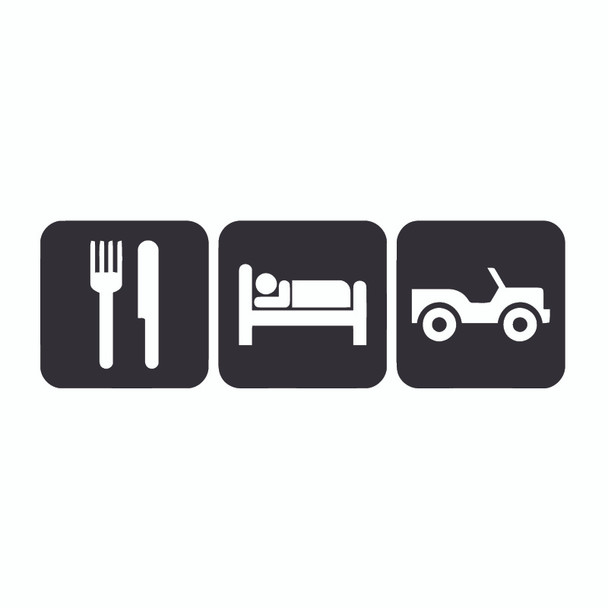 Decal, DEC-ESJ - Eat, Sleep, Jeep Decal