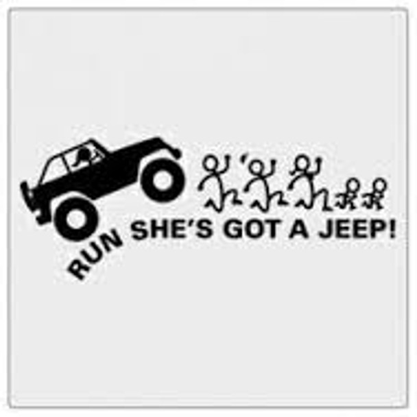 Run She Has a Jeep Stick People Decal