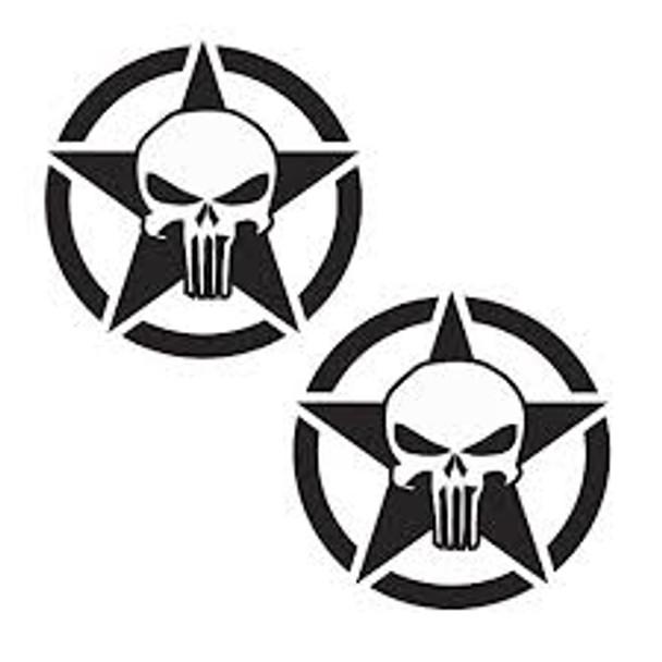 Star Punisher Decals 12 inch Pair