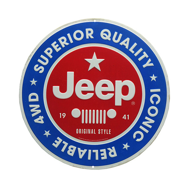 JEEP ROUND EMBOSSED TIN SIGN