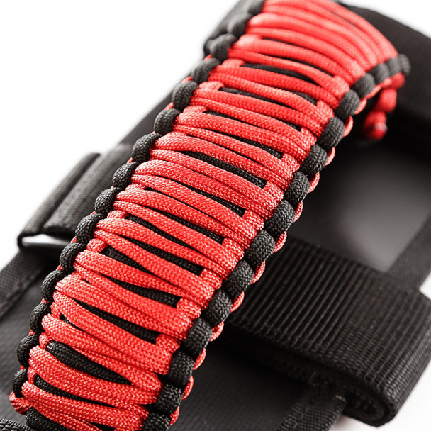 GRAB HANDLE KIT, PARACORD, RED/BLACK; 55-18 JEEP CJ/YJ/TJ/JK/JL