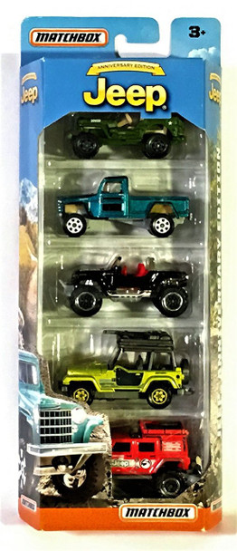 Anniversary Edition Jeep 5-Pack, 5 pack includes Jeep Willys 4X4 Pickup, '43 JEEP Willys, Jeep Hurricane Concept, '98 Jeep Wrangler and Jeep Wrangler Superlift