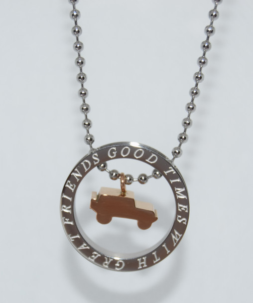 "Silver and Gold Jeep ""Good Times with Great Friends"" Necklace"