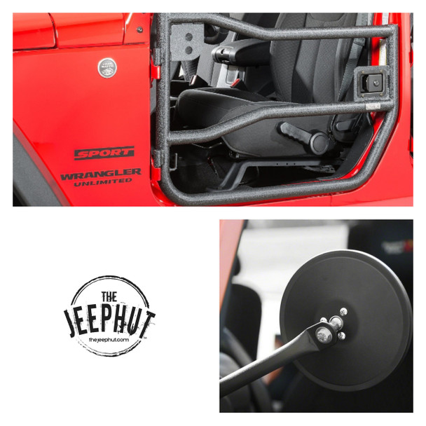 Jeep JK Front Tube Doors 11509.10-GS - Rugged Ridge, With FREE Mirrors Textured Black, 07-18 Jeep Wrangler (JK)