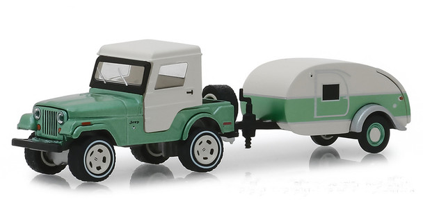 Greenlight 1:64 Hitch & Tow Series 16 - 1972 Jeep CJ-5 Half-Cab and Teardrop Trailer Green/White)