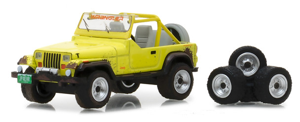 Greenlight 1:64 The Hobby Shop Series 3 - 1991 Jeep Wrangler YJ with Wheel and Tire Set yellow)