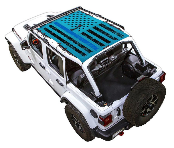 SpiderWeb Shade Jeep JL4D TACTICAL FLAG DISTRESSED THIN BLUE LINE