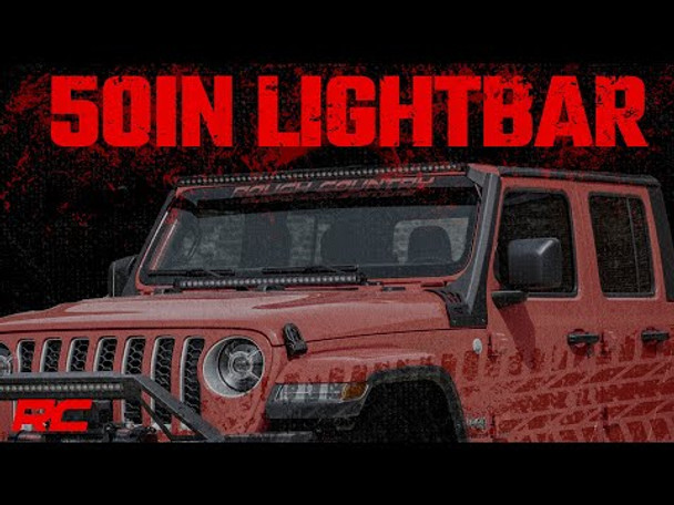 Jeep 50-inch Straight LED Light Bar Upper Windshield Kit w/ Single-Row Chrome Series LED (2020 Gladiator JT, 18-20 Wrangler JL)