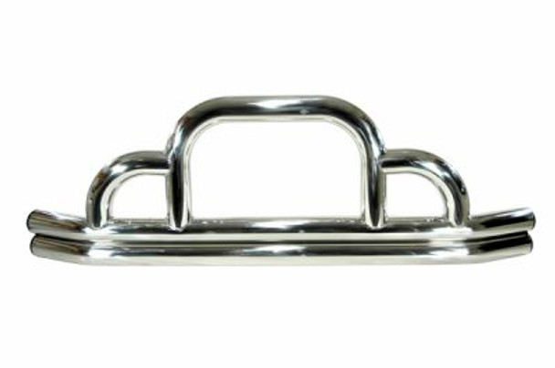 Rugged Ridge, 11521.01 - Defender Front Bumper, Stainless Steel, 55-06 Jeep CJ and Wrangler