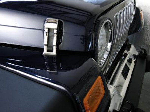 Rugged Ridge, 11116.02 - Hood Catch Set, Stainless Steel, 97-06 Jeep Wrangler (TJ)