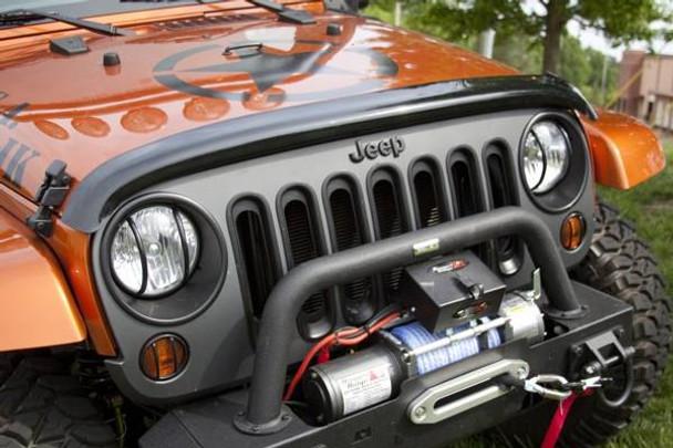 Rugged Ridge, 11350.02 - Wraparound Bug Deflector, Smoke, 07-18 Jeep Wrangler