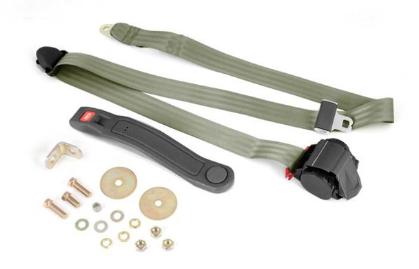 Omix-Ada, 13202.42 - 3-Point Seat Belt, Olive, Retractable, Universal Application