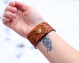Wood Grain Leather Cuff Bracelet