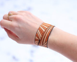 Brown Leather Cuff with Ray Pattern
