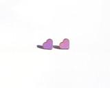 Light Purple Wood Heart Studs