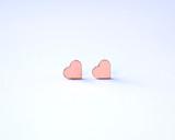 Blush Wood Heart Studs