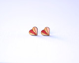 Blush and Crimson wood Heart Studs
