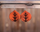 Leather Aspen leaf earrings