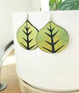 Green Aspen Leaf Earrings
