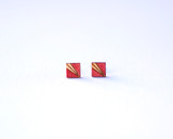 Crimson Square Wood Studs with Etched Pattern