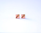 Blush Square Wood Studs with Etched Pattern