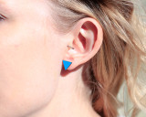 Turquoise wood triangle studs