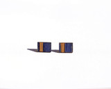 Navy Wood Rectangle studs with etched pattern