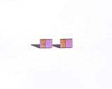 Light Purple Wood Rectangle studs with etched pattern