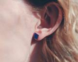 Navy Wood Diamond earrings