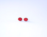 Crimson Oval Wood Studs