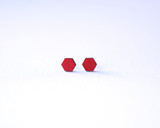 Crimson Wood Hexagon Studs