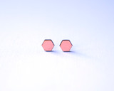Blush Wood Hexagon Studs