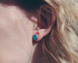 Teal Hexagon wood studs