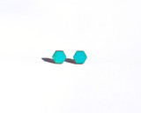 Teal Wood Hexagon Studs