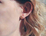 Wood oval studs with etched pattern