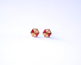 Wood Hexagon Studs with Blush and Crimson pattern