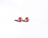 Wood Hexagon studs with wine and light purple pattern
