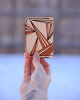 Back of leather card holder with ray pattern
