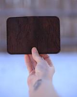Wood grain leather card holder