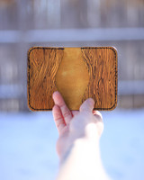Wood grain leather card holder buckskin