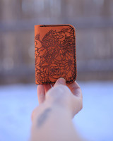 Leather Card Holder with Flower Pattern