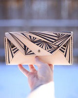 Leather Clutch wallet with Ray pattern