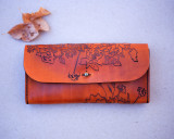 Leather Clutch wallet with flower design