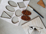 Leather Pine Cone Dangle earrings