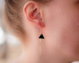 Black leather triangle ear threads