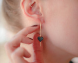 Black heart ear threads