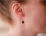 Black leather diamond ear threads